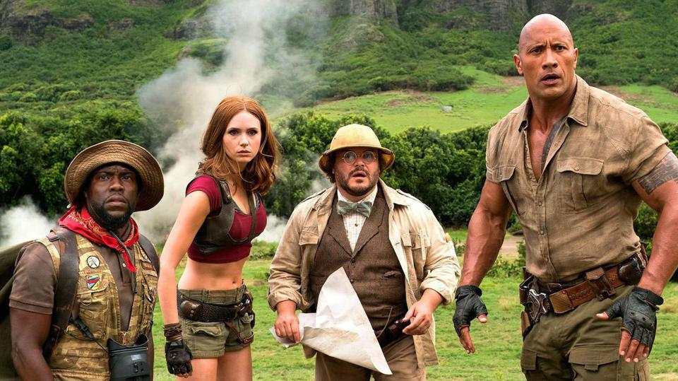 Kevin Hart, Jack Black, Karen Gillan and Dwayne Johnson in Sony's 'Jumanji The Next Level'