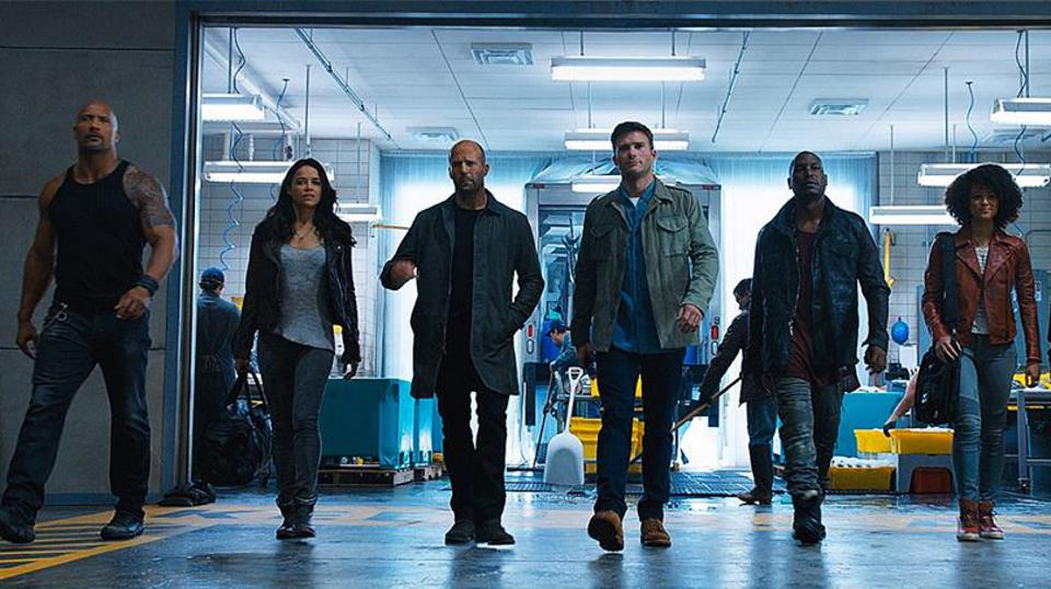 Jason Statham, Dwayne Johnson, Ludacris, Michelle Rodriguez, Tyrese Gibson, Scott Eastwood, and Nathalie Emmanuel in 'The Fate of the Furious'
