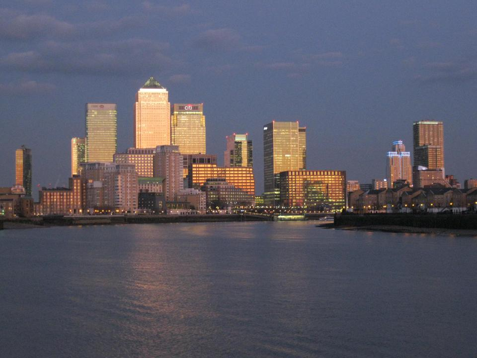 Sunset: Canary Wharf, London's financial hub, seen from the North Side of the Thames