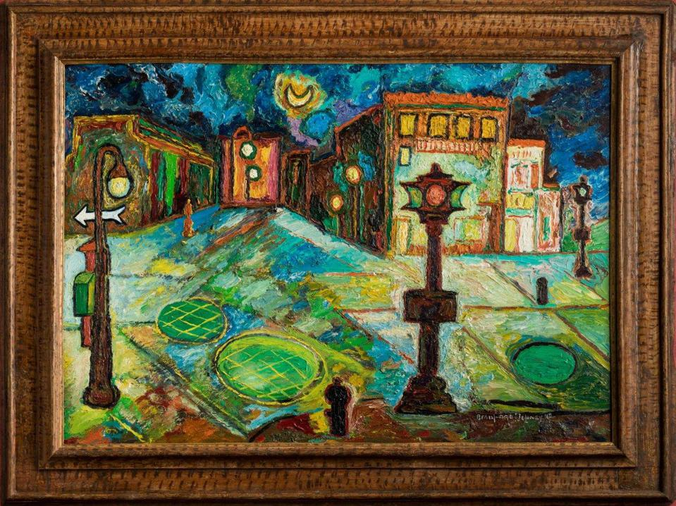 """Greenwich Village,"" 1945, Beauford Delaney, American; oil on canvas. Mary Anne and Eugene A. Gargaro Jr. Collection."