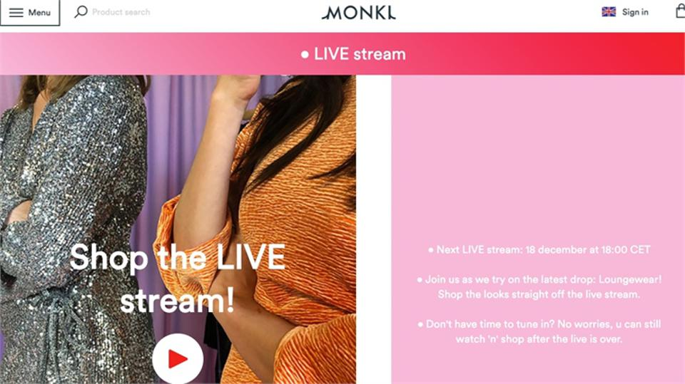 H&M brand Monki began live-stream selling fashion in December 2019.