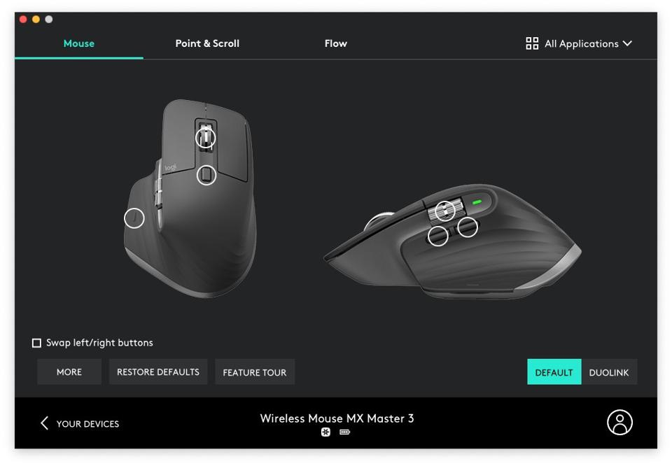 Screenshot of the Logitech Master MX3 mouse showing buttons
