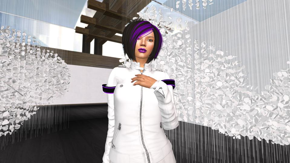 """Skawennati, Epiphany (featuring a digital representation of Cloudscape, an installation by Hannah Claus), from TimeTraveller™ 2008-13. Nine-episode machinima series. """"Open World: Video Games & Contemporary Art."""""""