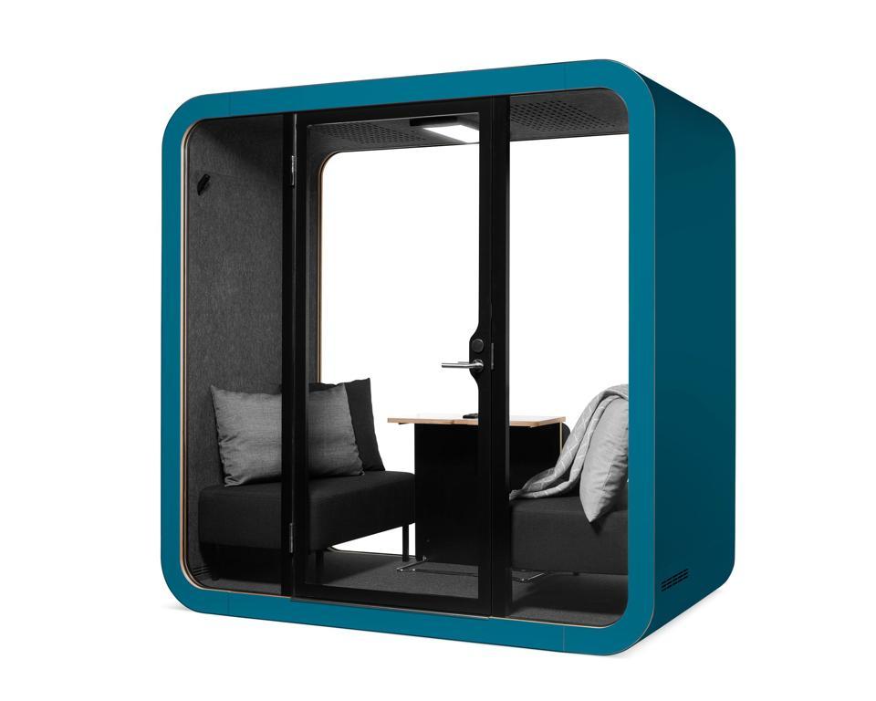 Framery work pod in color of Petrol Blue.