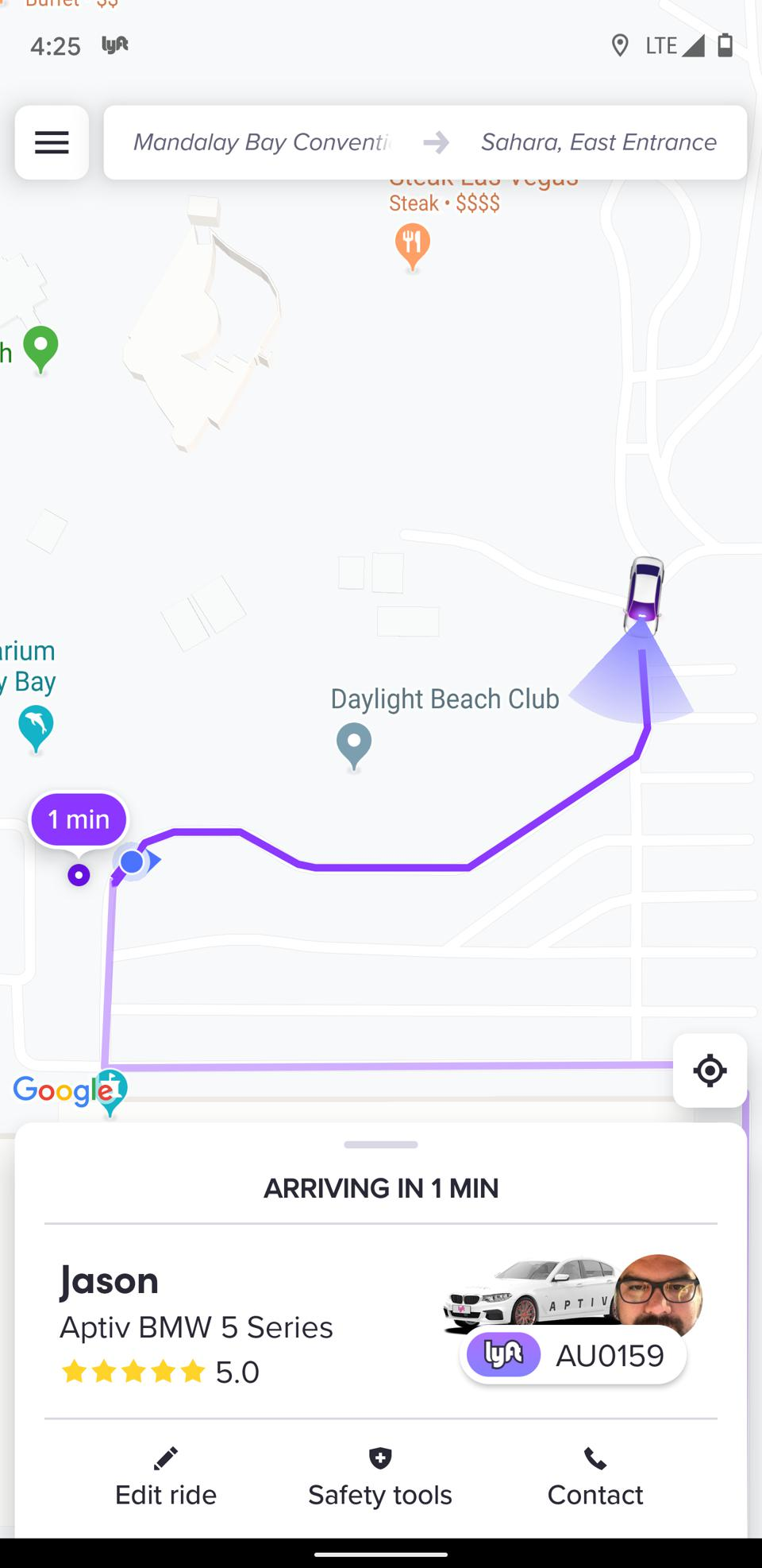 Screen shot from Lyft app requesting a self-driving ride