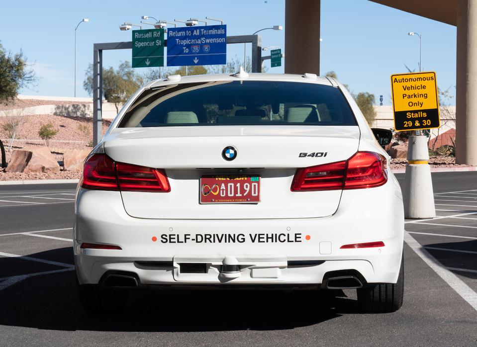 Aptiv automated vehicle prototype parked at McCarron Airport in Las Vegas