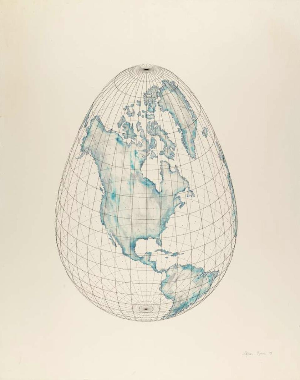 Isometric Systems in Isotropic Space — Map Projections: The Egg, 1979. Ink and metallic ink on rag paper with printed Mylar overlay, 30 × 24″. Courtesy the artist and Leslie Tonkonow Artworks + Projects