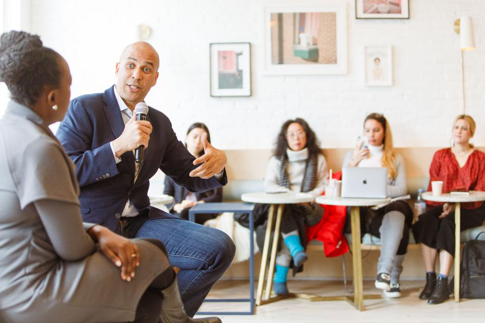 Cory Booker at The Wing coworking space