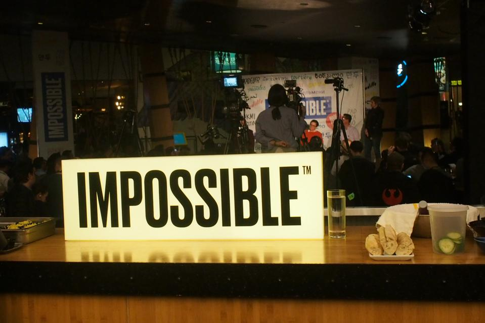 Impossible Foods sign at Kumi restaurant