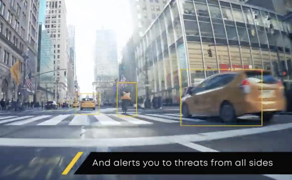 CoPilot 360 senses objects like cars and people and alerts motorcyclists to threats.