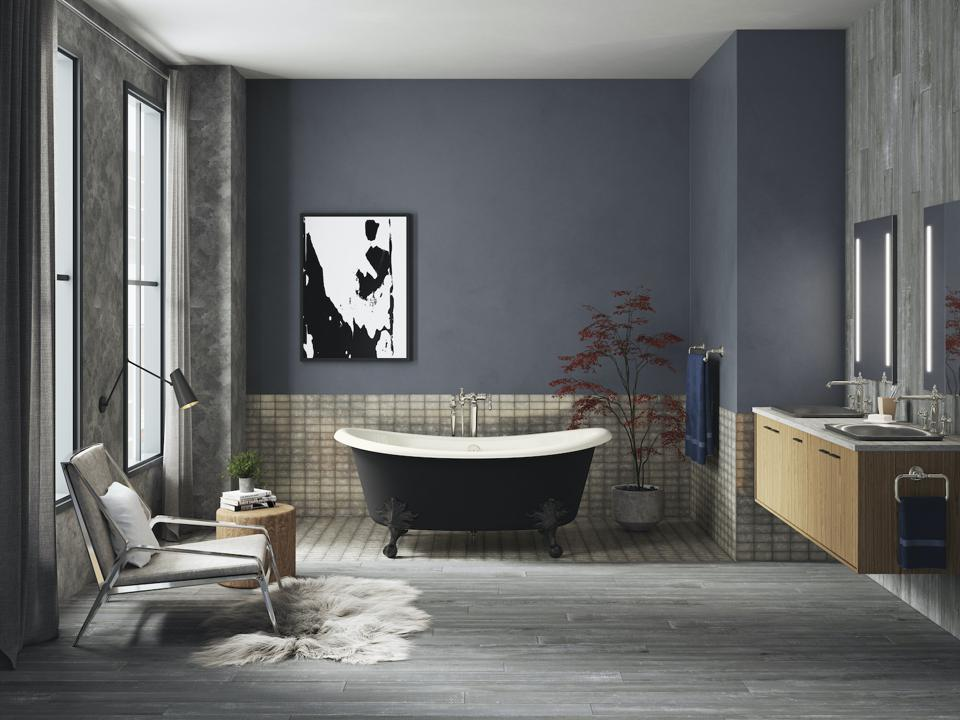 A clawfoot traditional style free tub by Kohler.