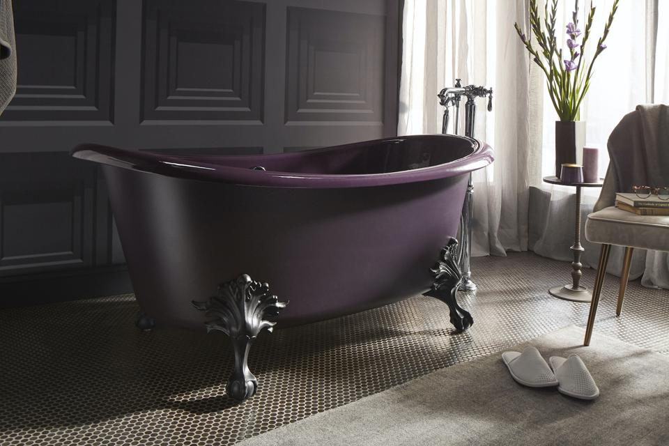 Although tradition in nature, this claw foot tub is available in fashion forward colors.
