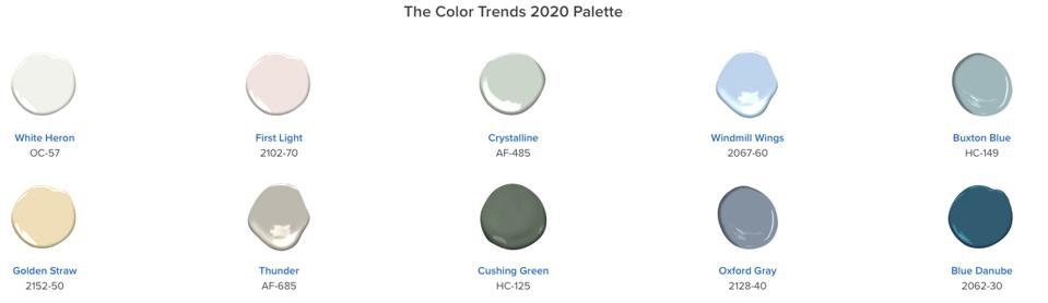 Some of the colors Benjamin Moore predicts for the home in 2020.