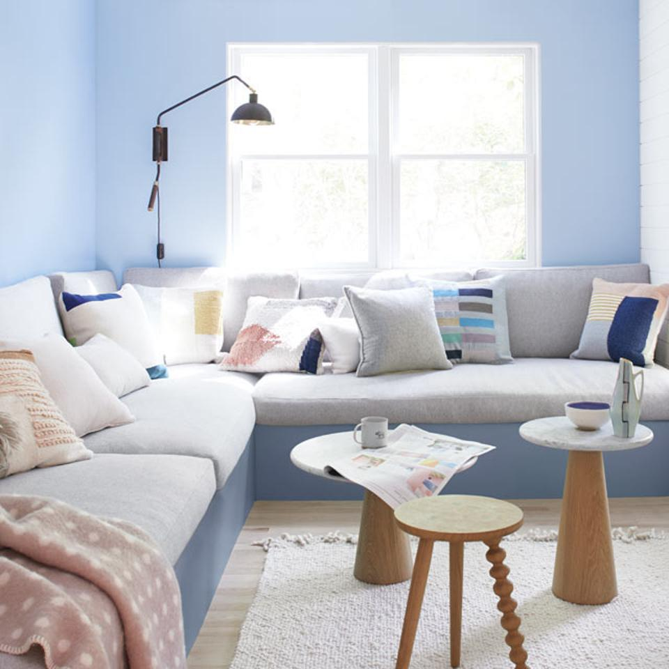 A shade of blue recommended by Benjamin Moore.
