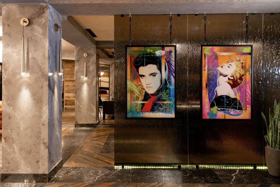 Art by RISK in the lobby of the Bobby Hotel