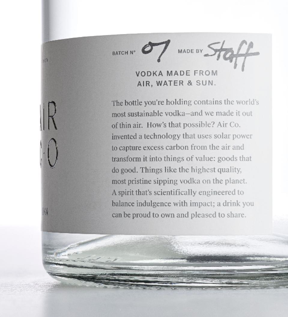 Air Co Vodka - Label