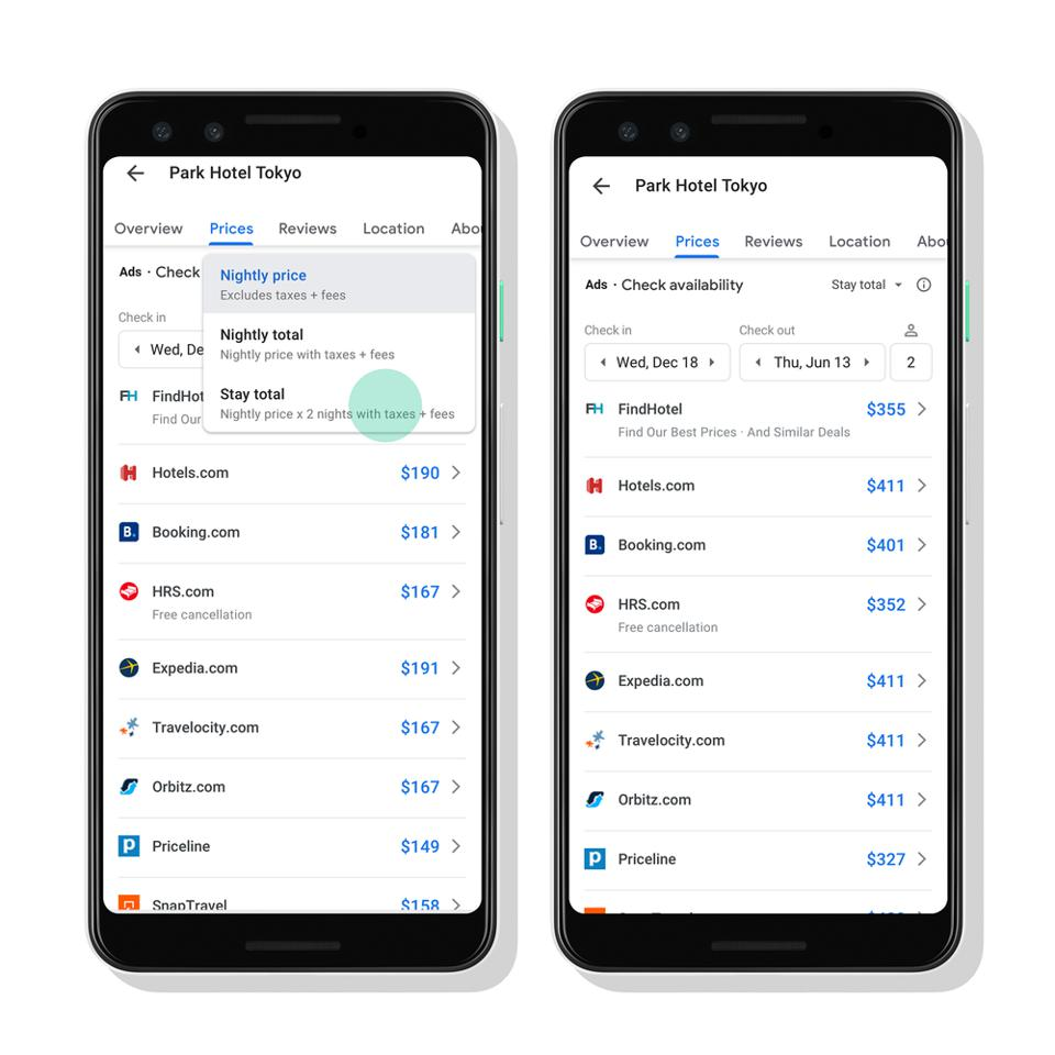 Google Hotel prices with taxes and fees