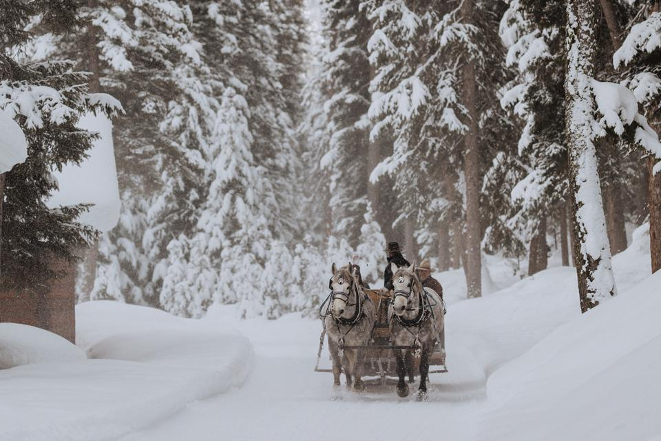 Montana Big Sky Lone Mountain Ranch Sleigh Ride