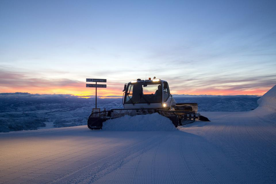A Snow Cat groomer works its magic at Deer Valley.