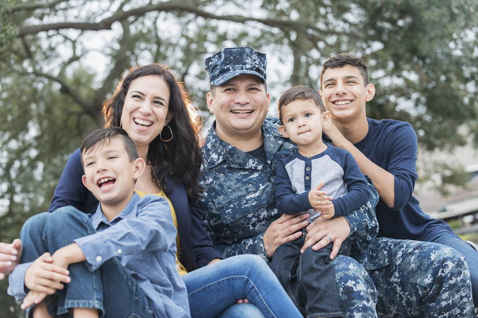 Military family poses for photo