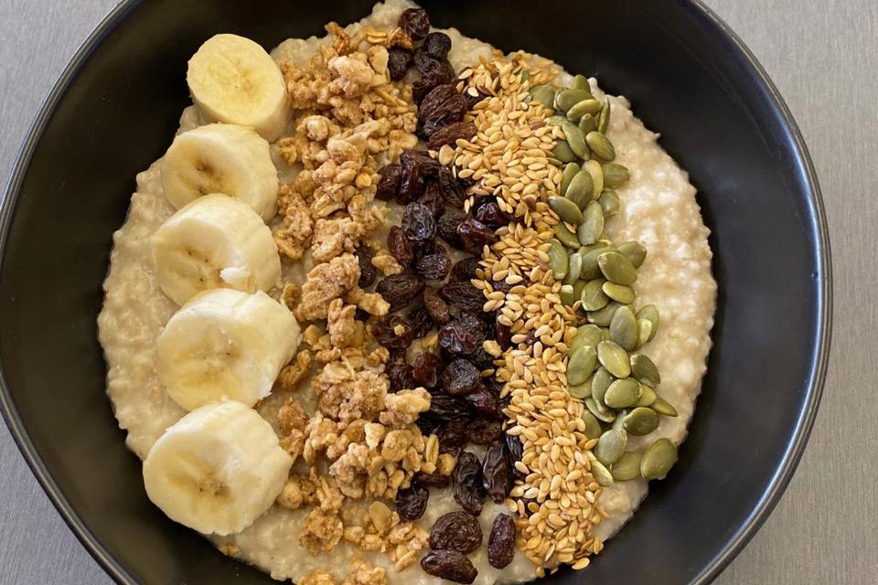 Oatmeal and banana breakfast at the University of New Haven. Colleges are going vegan and the campus is part of a national trend.