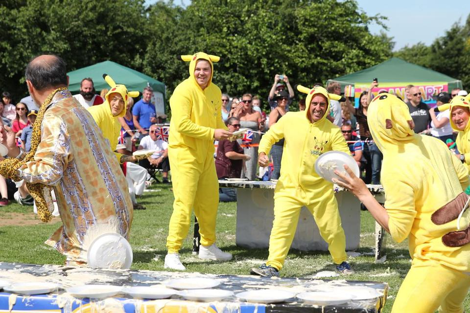 pie throwing competition in England