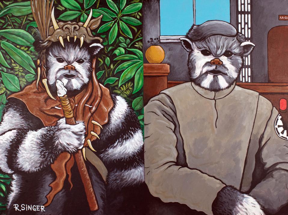 Ryan Singer (Diné), (De)Colonized Ewok, 2019 Acrylic on canvas. Museum Purchase, IL2019-45-1.