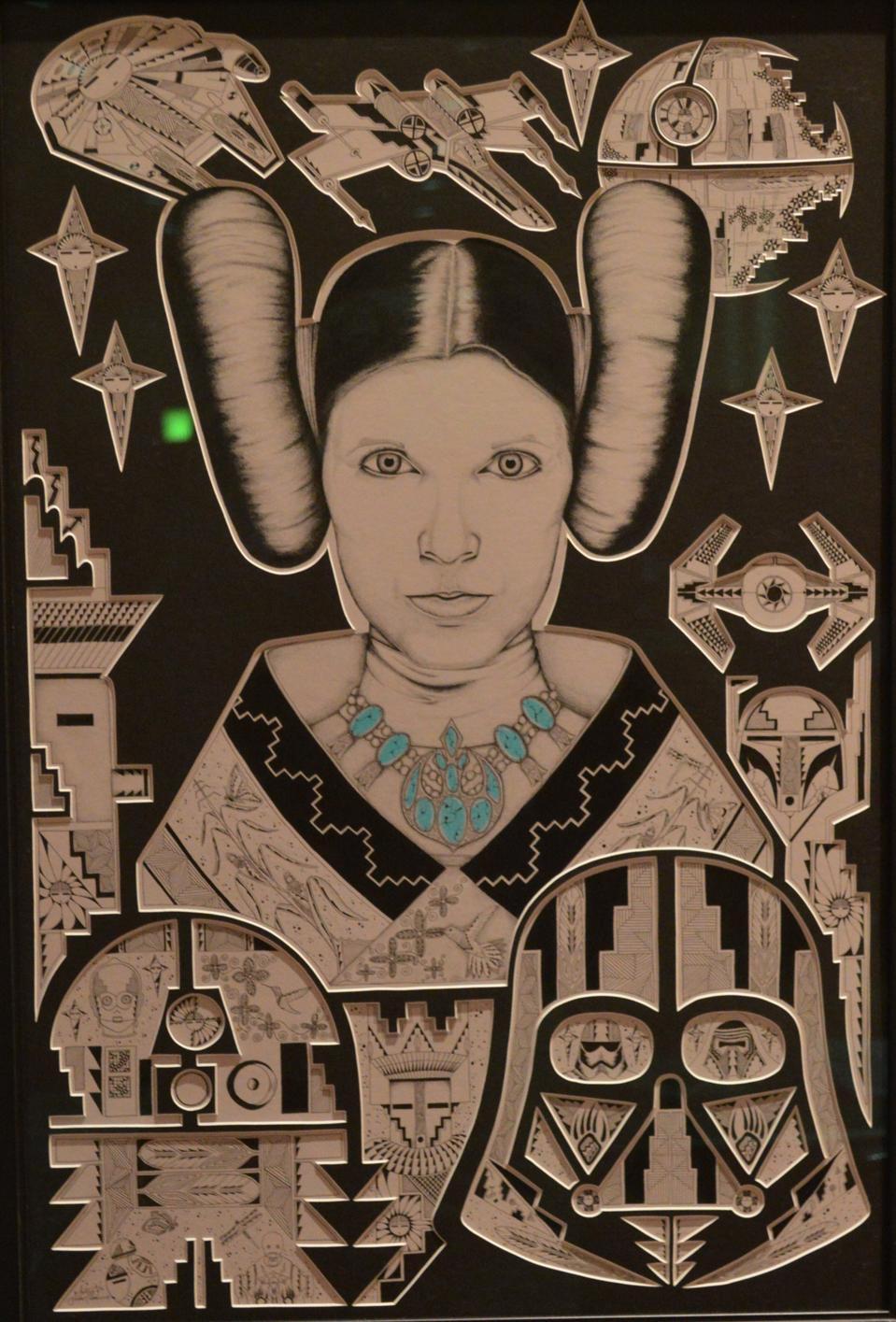 Mike Toya (Jemez Pueblo), Maiden Leia, 2017. Fine art print on paper.
