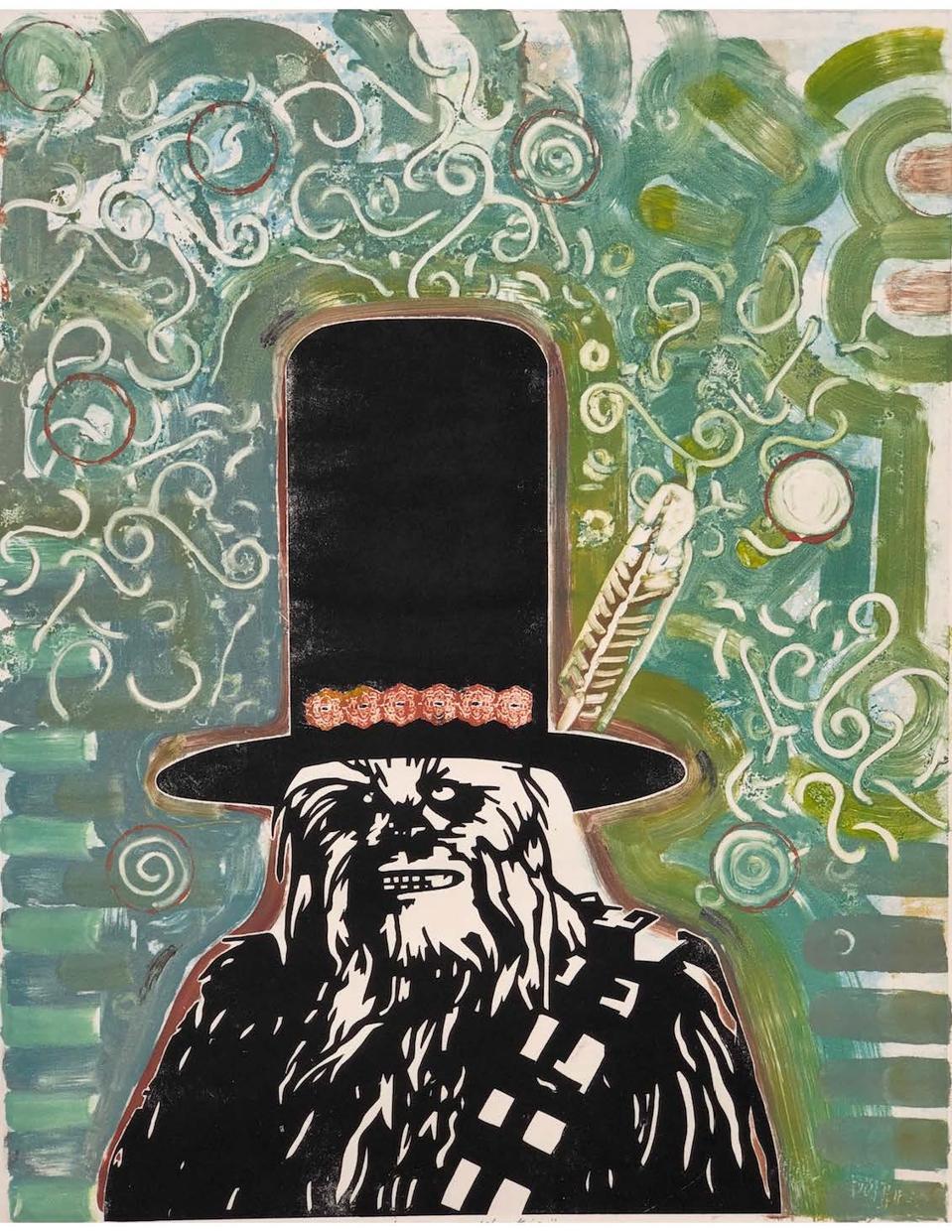 Randy Kemp (Choctaw/Muscogee-Creek/Euchee), Western Wookie of Klagetoh, 2018. Monotype original, hand cut stencils and brush marks on BFK Rives paper.