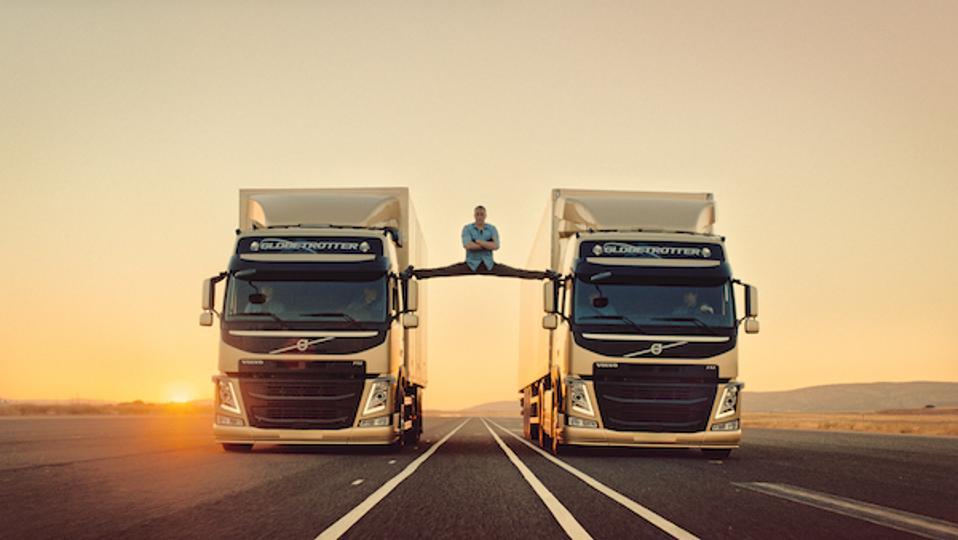 Jean Claude Van Damme in the Volvo viral video demonstrating dynamic steering.