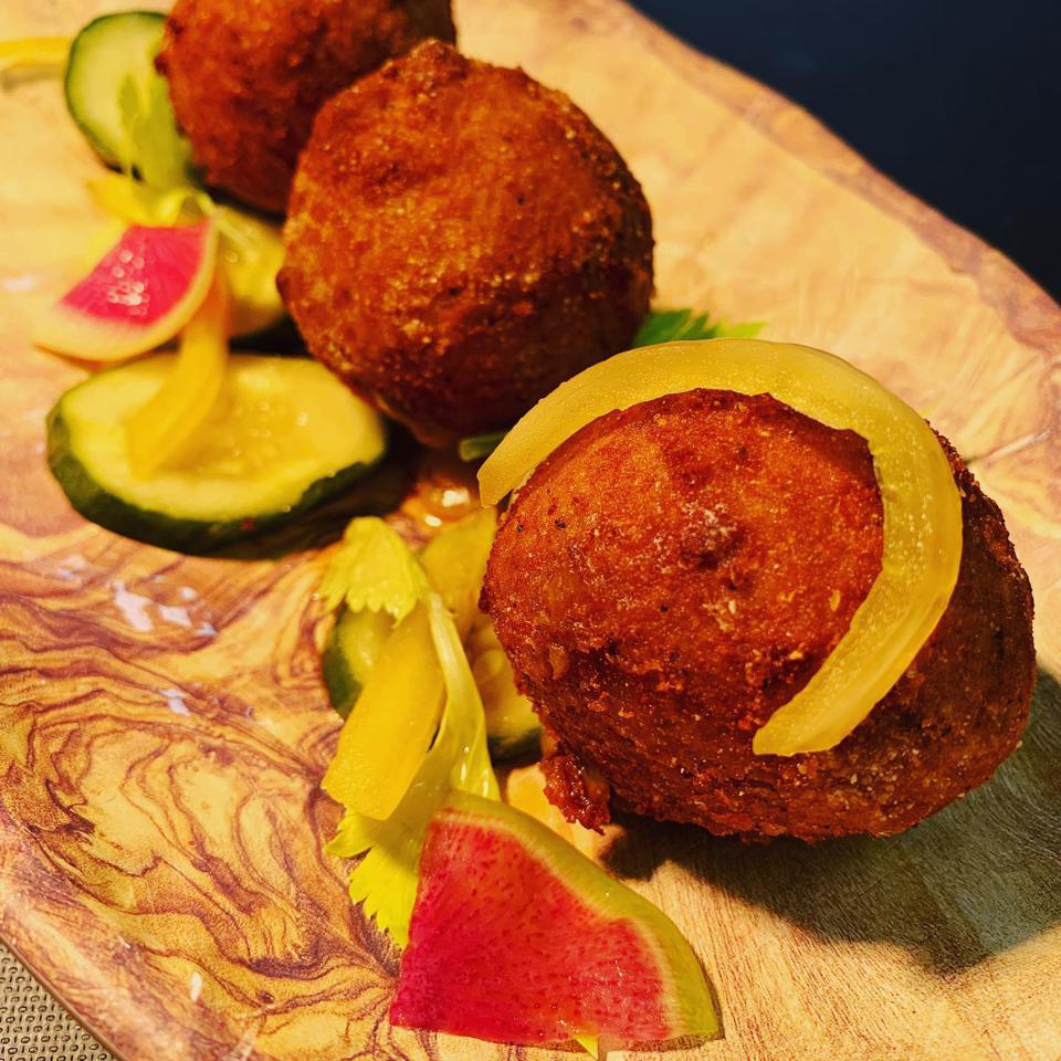 Fried Pimento Cheese at Pyre Provisions in Covington, Louisiana.