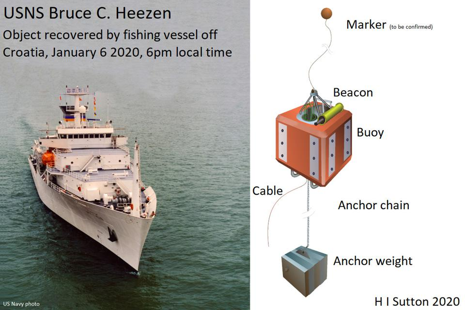 USNS Bruce C Heezen with buoy system illustrated