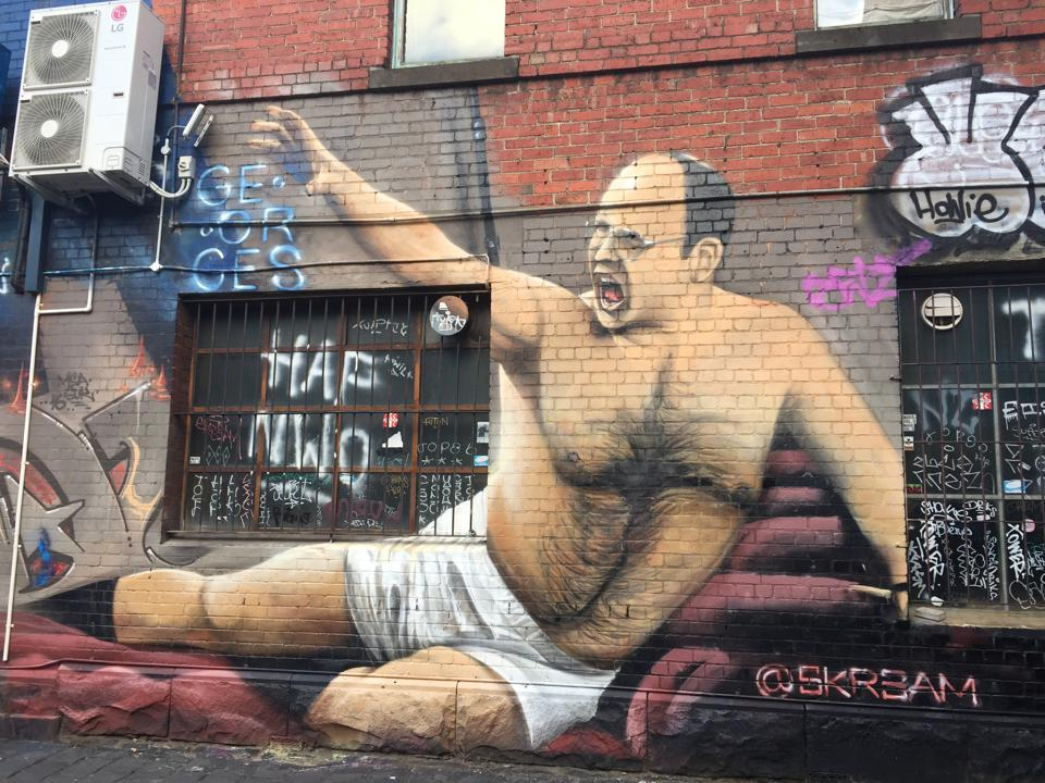 A hilarious mural of Seinfeld's George Costanza in all his glory outside George's Bar in Melbourne.