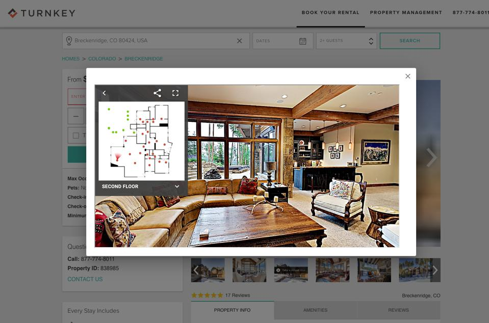 A virtual tour of a vacation home in Breckenridge, Colo., on TurnKey's site.
