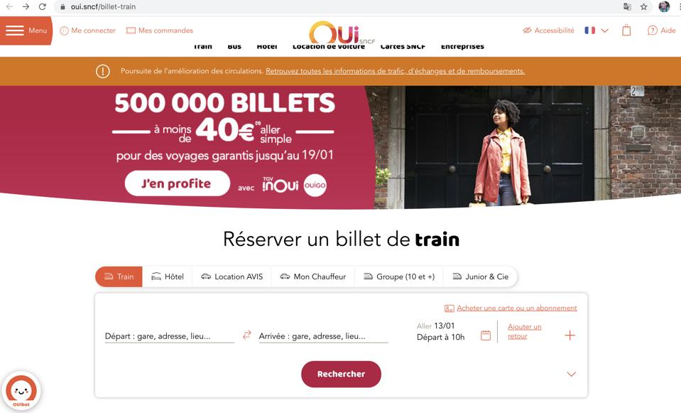 screenshot French rail Oui SNCF booking site