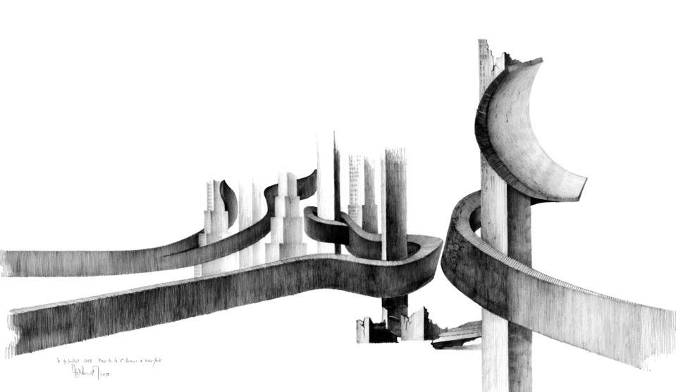 Le 19 Juillet 2058: Prise de la Ve Avenue à New-York (1978). Copyright Claude Parent.