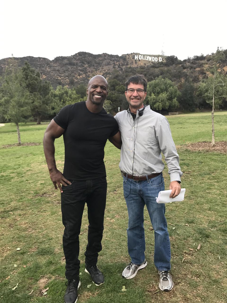 "Terry Crews and producer Ken Schwab the ""World's Funniest Animal Commercials"" shoot."
