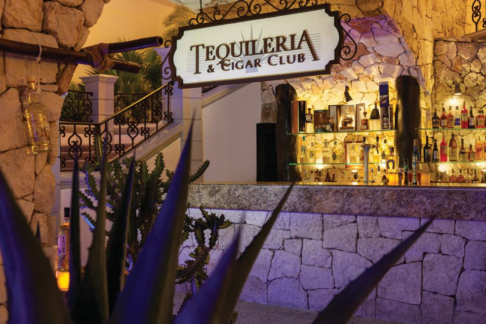 Tequila and cigar bar in Mexico.