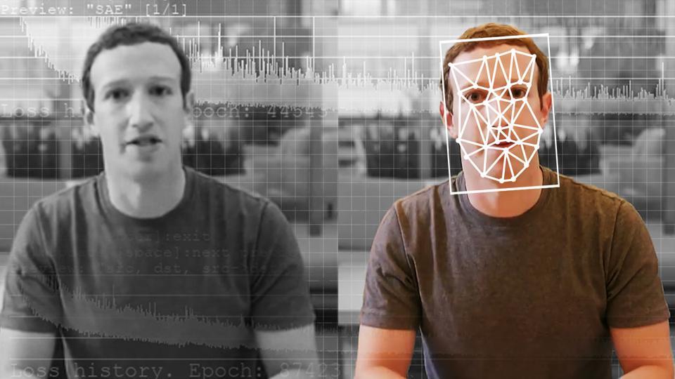 A comparison of an original and deepfake video of Facebook CEO Mark Zuckerberg