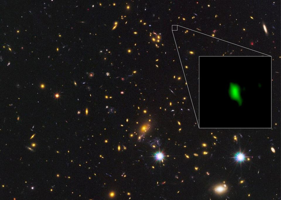 Image of a distant galaxy showing its distribution of oxygen.