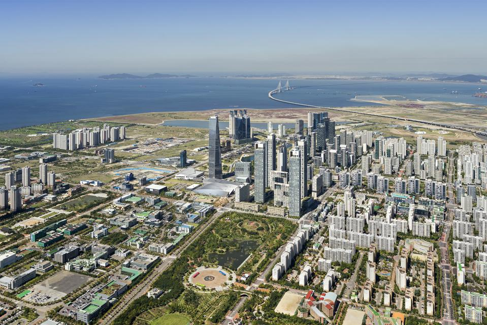 The city of Songdo, South Korea, as seen from above. The masterplan was designed by Kohn Pedersen Fox