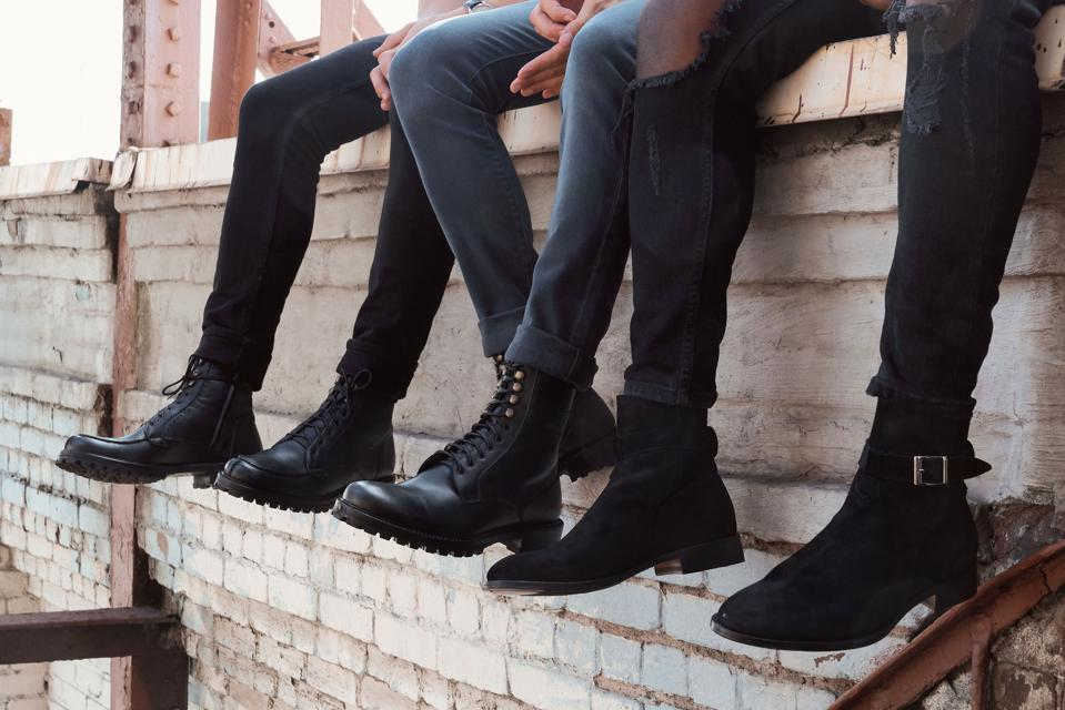 The Wednesday Chelsea Boot in gray, The Tuesday Split-Toe in black and the Friday Jodphurs in Black.