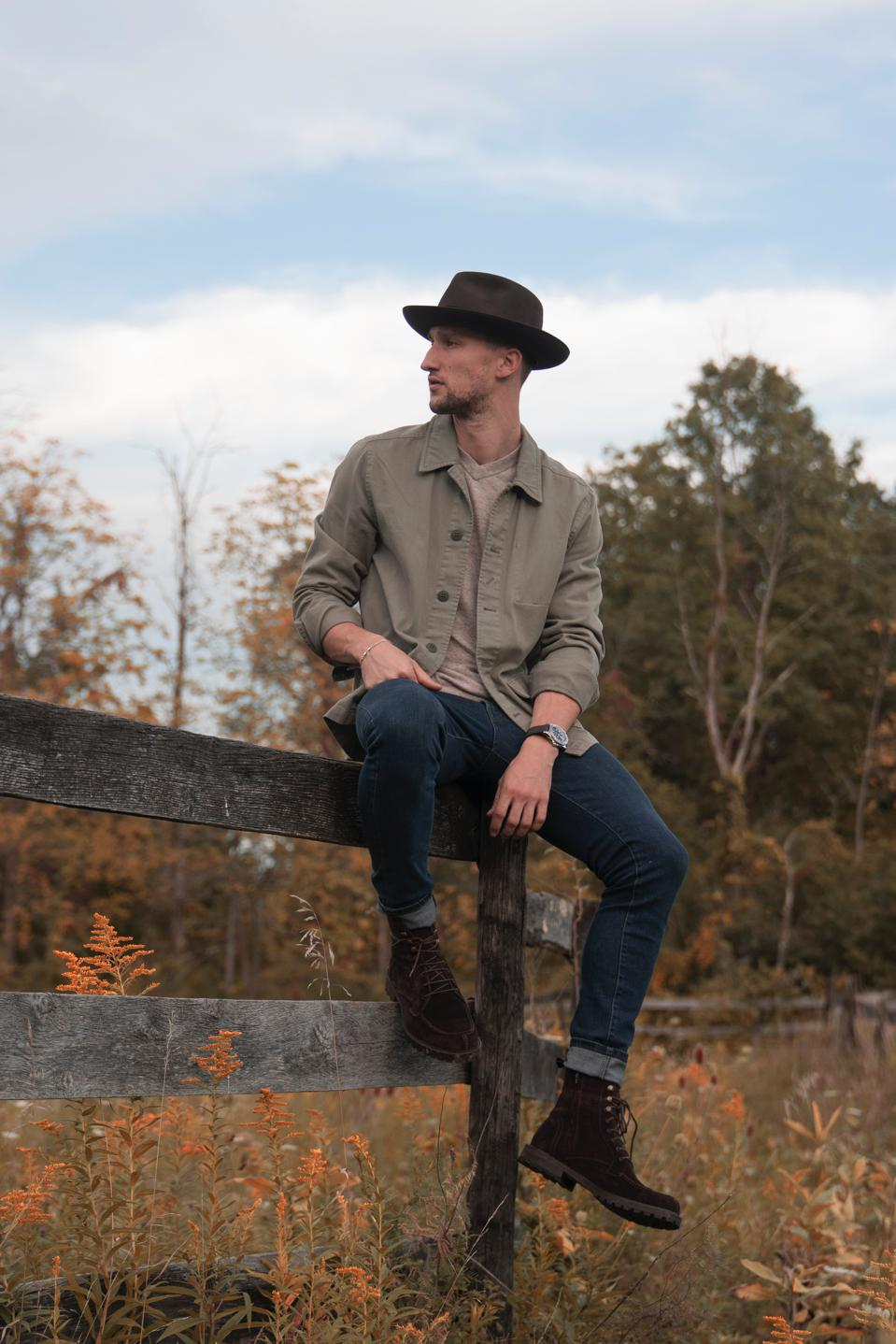 Co-Founder Marcel Floruss in the Saturday Lace-up in chocolate corduroy