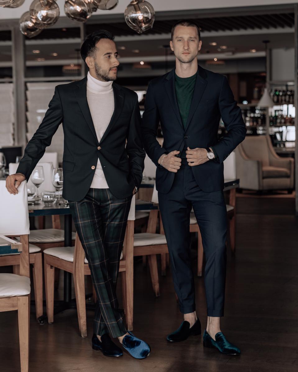 Founders Moti Ankari & Marcel Floruss in the Ankari Floruss Holiday '19 campaign.