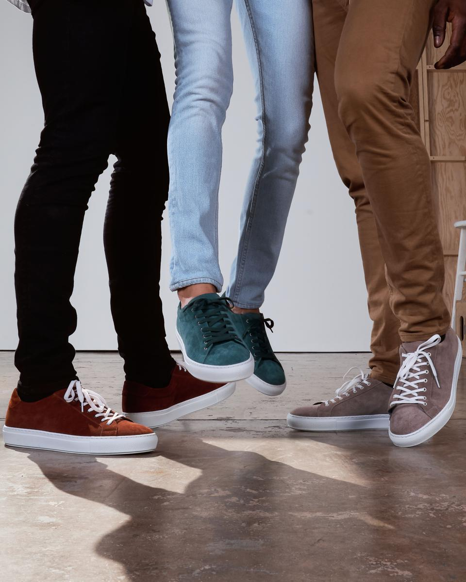 The Saturday Lace-up Sneakers in Brick, Teal and Taupe.