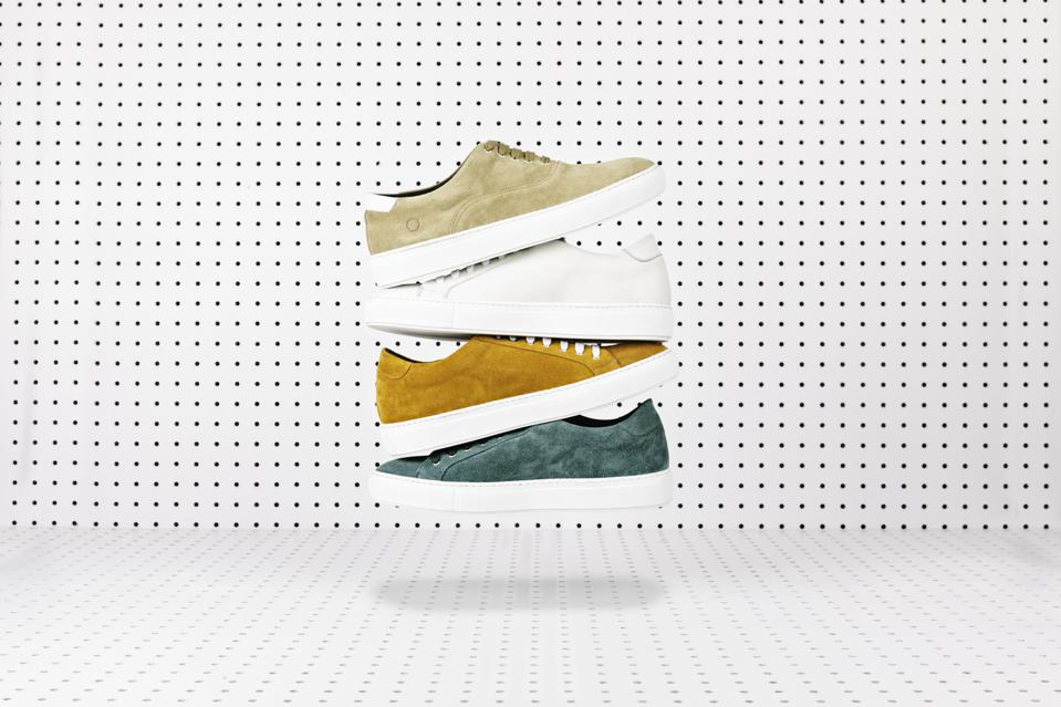 Ankari Floruss Saturday lace-up sneakers in White, Marigold and Teal and the Sunday skate sneaker in beige.