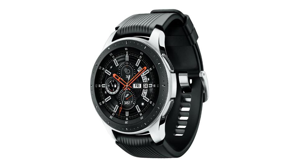 Black Samsung Galaxy Watch on a white background.