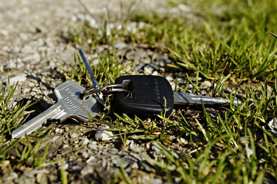 Set of keys laying on ground