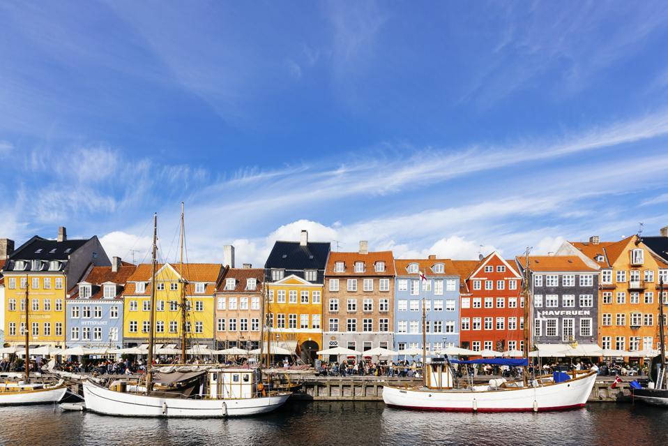 Colorful vibrant houses at Nyhavn harbor in Copenhagen, Denmark.