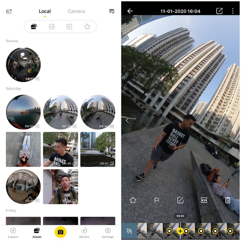 Screenshots of Insta360 One R's companion app.